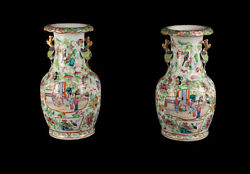 China 19. Jh A Pair Antique Chinese Canton Famille Rose Vases Qing