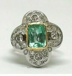 Antique Art Deco 18k White Gold Large Emerald And Diamond Ring, 3.32 Tcw, Size 8.5