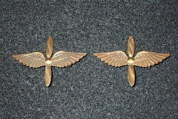 Wwi Army Air Service Officers Bos Collar Insignia Pair Winged Propeller England
