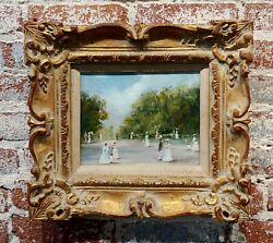 A. Montesinos -women In White W/ Parasols At The Park -19th C. Oil Painting
