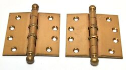 Vintage1950's-60's Nos New Old Stock Stanley Brushed Brass Hinges 4 X 4