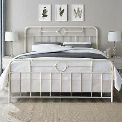 Bed Frame King Size White Classic Metal Pipe Bed Steel Headboard Antique Vintage