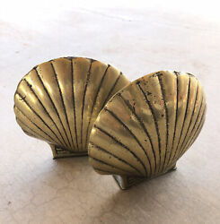 2 Vintage Brass Clam Shell Bookends Hollywood Regency Boho Decor Pair