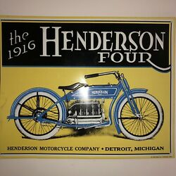 Vintage The 1916 Henderson Four Henderson Motorcycle Company Aaa Sign Detroit Mi