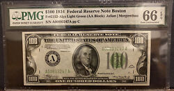 Fr.2152-a 1934 100 Boston Light Green Seal Federal Reserve Note. Pmg 66epq. 500