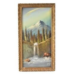 Antique Oil Painting Mountain River Waterfall Harry Leonard Lopp Pacific Nw