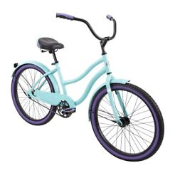 Huffy 24 Cranbrook Womenandrsquos Girls Comfort Cruiser Bike High Tide Green And Purple
