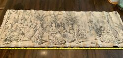 Antique tapestry Belgium Salon courting scenes early 1800s 18quot;x 54quot; Cotton