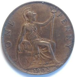 1902 Great Britain One Penny Coin King Edward Vii