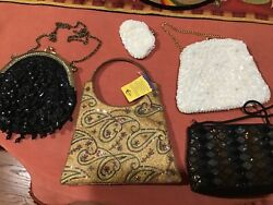 Lot of 4 beaded evening handbags purse vintage and other nice bead purses $18.99