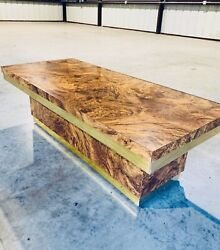Stunning Mcm Milo Style Burl Wood Coffee Table With Brass Accent 1970's