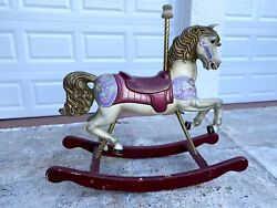 Large Vintage Sands Woodcarvers Hand Painted Wooden Carousel Rocking Horse 1984