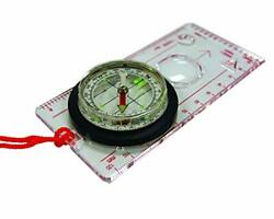 Deluxe Map Compass With Raised Base Plate And Swivel Bezel For Hiking,