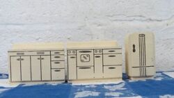 Vintage Solid Wood 3 Piece Miniature Doll House Kitchen Stove Sink Refrigerator