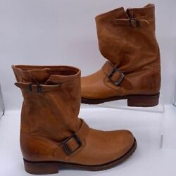 FRYE Women#x27;s Round Toe Leather Veronica Shortie Boots In Whiskey Sz 9 Brown $159.99