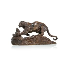 Antique 19th Original France Lioness Attacking An Otter Bronze Figurine Barye
