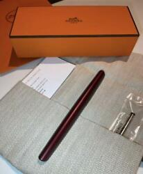 Hermes Ballpoint Pen Nautilus Rouge H Color Stationery From Japan Unused