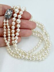 Mikimoto Akoya Pearl Necklace Double Strand 1950s Sterling Silver Vintage 20 In