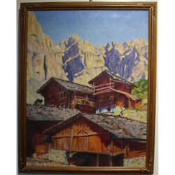 Antique 20th Swiss Original Oil Canvas Painting Gemmi In Loandecircche-les-bains Signed