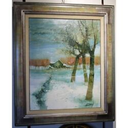 Vintage 20th Rare Swiss Oil Canvas Painting Winter Atmosphere Signed Sementzeff