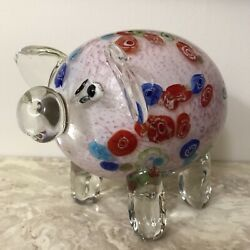 Adorable Colorful Murano Millefiori Glass Art Sculpture Pink Pig Paperweight