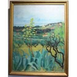 Vintage 1931 Swiss Original Oil Canvas Painting Cassis Signed V. Metein-gilliard