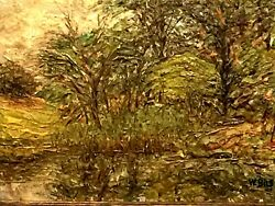 Antique New York Artist W.bils 1872-1944 Painting 1929 Oil Board River Forest
