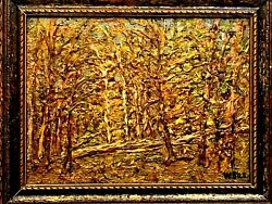 Antique New York Listed Artist W.bils 1872-1944 Painting 1929 Oil Board Forest