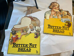 Pair Of Vintage Butter Nut Bread Hanging Grocery Advertising Signs
