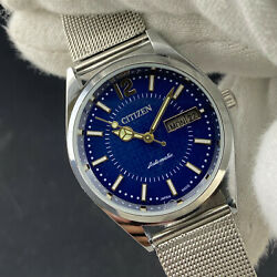 Vintage Citizen Automatic Cal. 8200 Day-date Menand039s Wrist Watch Blue Dial Ct112