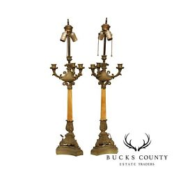 Antique French Bronze And Marble Candelabra Converted Table Lamps
