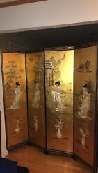 Asian Style 4-panel Room Divider/screen In Black And Gold