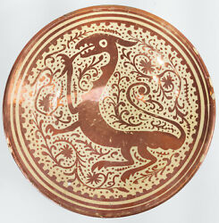 Antique Hispano Moresque Luster Majolica Pottery Charger Bowl Dragon Spanish