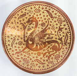 Antique Hispano Moresque Majolica Pottery Charger Dish Dragon Mythical Beast Lus