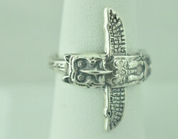 Beautiful 925 Sterling Silver Thunderbird Big Native Totem Pole Spoon Ring