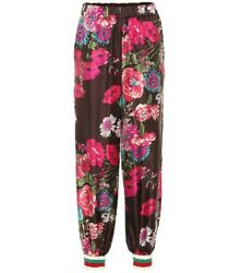 Floral-print Relaxed-fit Silk-twill Trackpants Trousers Size I 42
