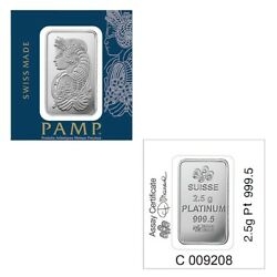 2.5 Gram Platinum Bar Pamp Suisse Lady Fortuna .9995 Fine In Assay From