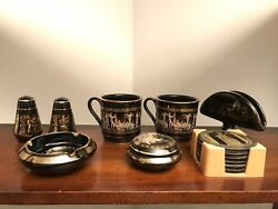 Vintage Made In Greece 24k Gold Trimmed Set Of Mugs Shakers Coasters And More