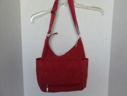 Baggallini Large Red Crossbody Shoulder Hobo Purse Full Zip Lots of Pockets $15.00