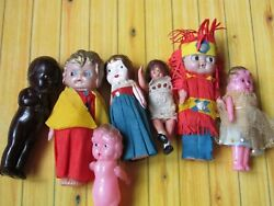 Vintage Dolls Lot Kewpie Carnival Celluloid English French Small Dolls