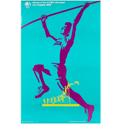 Original 1984 Los Angeles Olympic Games 22x34 Pole Vaulter Olympiad Poster New