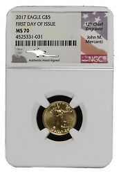 2017 5 Gold Eagle Ngc Ms70 Edmund Moy First Day Of Issue. Free Shipping