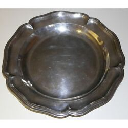 Antique 19th Original Rare Swiss Round Tray Scalloped Silver Isaac Amaron 730gr