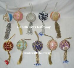 Handmade Antique Embroidery Ornaments With Tassel For Christmas Tree Decoration