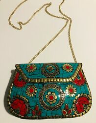 Authentic Judith Leiber Style Antique Multicolor Crystal Minaudiere Evening Bag $299.99