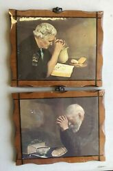 Grace And Gratitude Enstrom Old Man And Lady Praying Hands 11x9 Art Set Wood Mounted