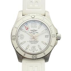 Breitling Superocean Automatic 36 Watch White Dial Stainless Steel Rubber Strap