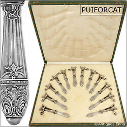 Puiforcat Rare French Sterling Silver Cutlet Holders Set 12 Pc Box Acanthus
