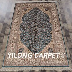 Yilong 4and039x6and039 Handmade Silk Carpet Blue Floral Kid Friendly Oriental Rug Z49a