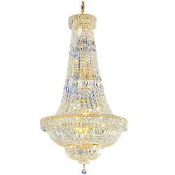 Crystal Chandelier Large Foyer Entryway Pendant Light French Empire Hanging Lamp